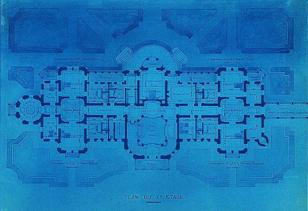 Първоначален проект на арх. Н. Лазаров за горния етаж на Двореца