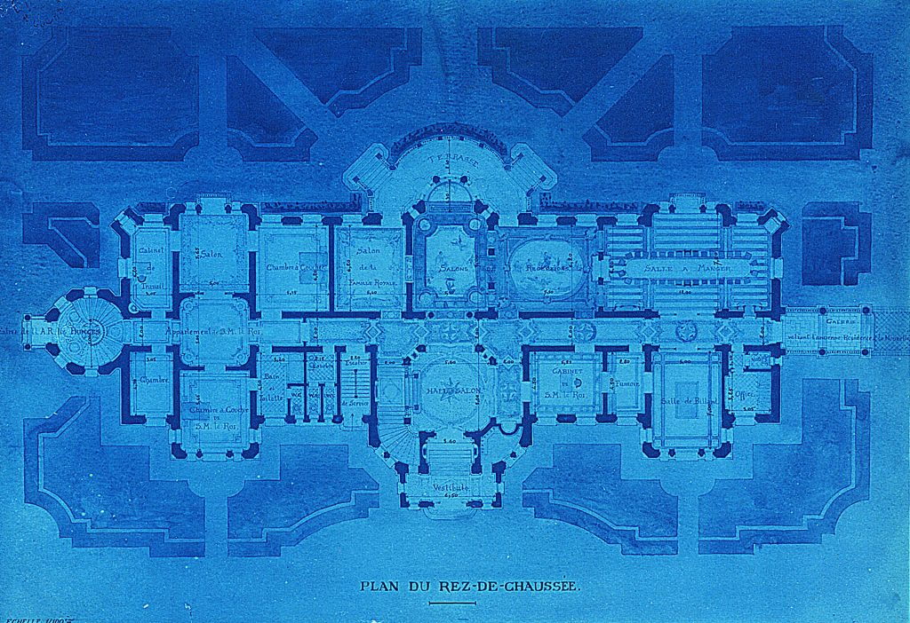Първоначален проект на арх. Лазаров за партерния етаж на Двореца
