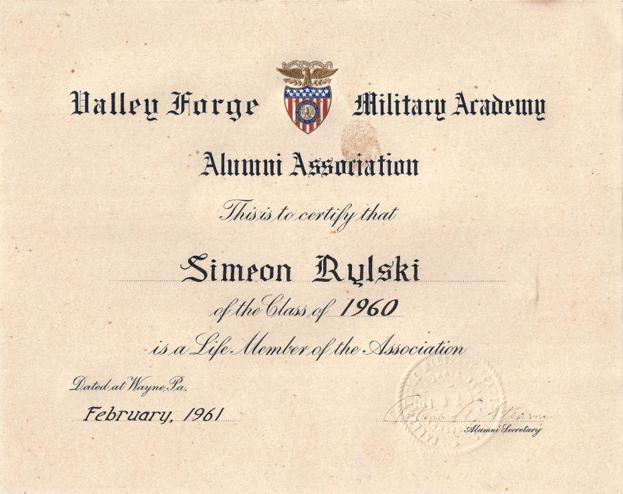 """Грамота на Симеон Рилски за провъзгласяването му за доживотен член на Асоциацията на завършилите Военната академия """"Вали Фордж"""", 1961"""