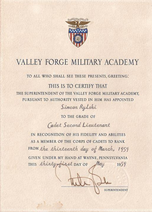 Грамота за удостояването на Симеон Рилски със званието младши лейтенант на Американската армия, 1959
