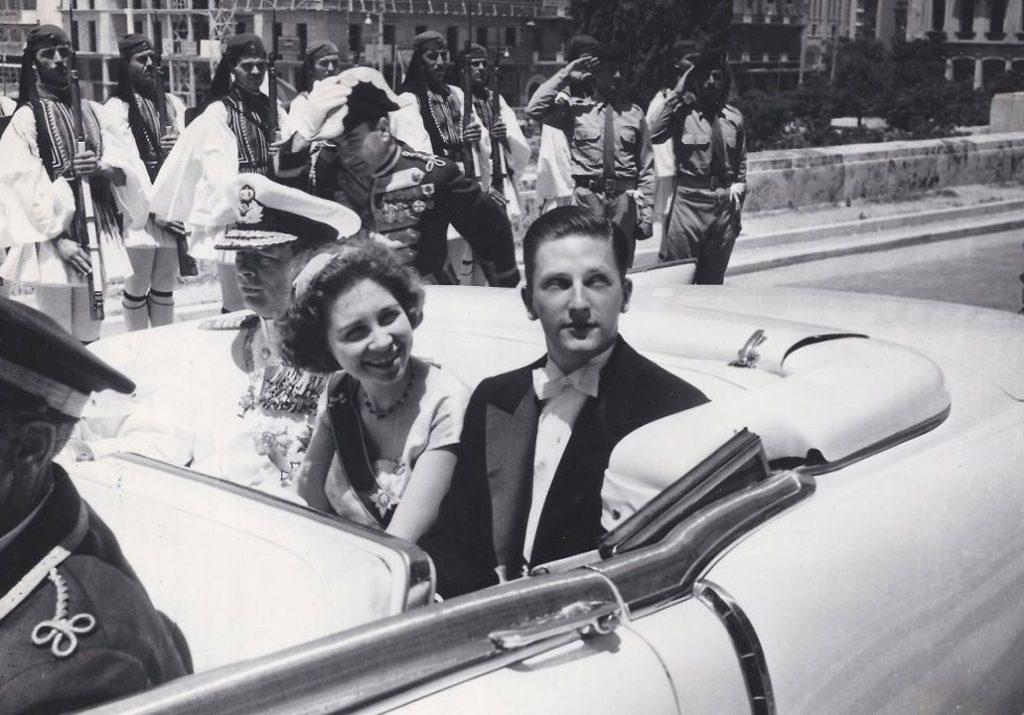 С Кралица София Испанска и Румънския Крал Михай, Атина, 1956 г.